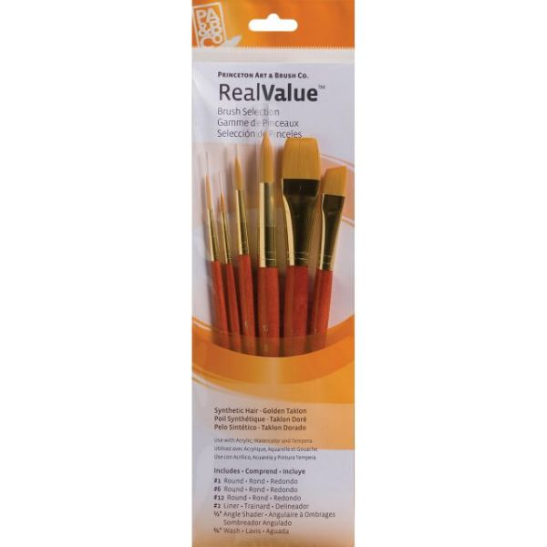 Synthetic Gold Taklon Real Value Brush Set