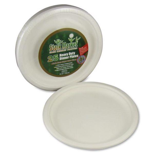"""Stalk Market Compostable 10"""" Bagasse Plates"""
