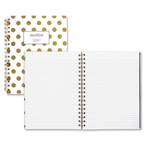 Cambridge Gold Dots Hardcover Notebook, 9 1/2 x 7, 80 Sheets