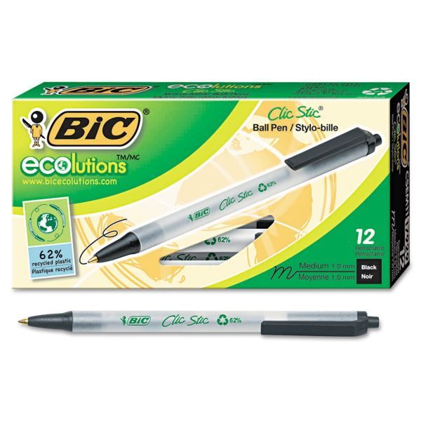 BIC Ecolutions Clic Stic Retractable Ballpoint Pen, Black Ink, 1mm, Medium, Dozen