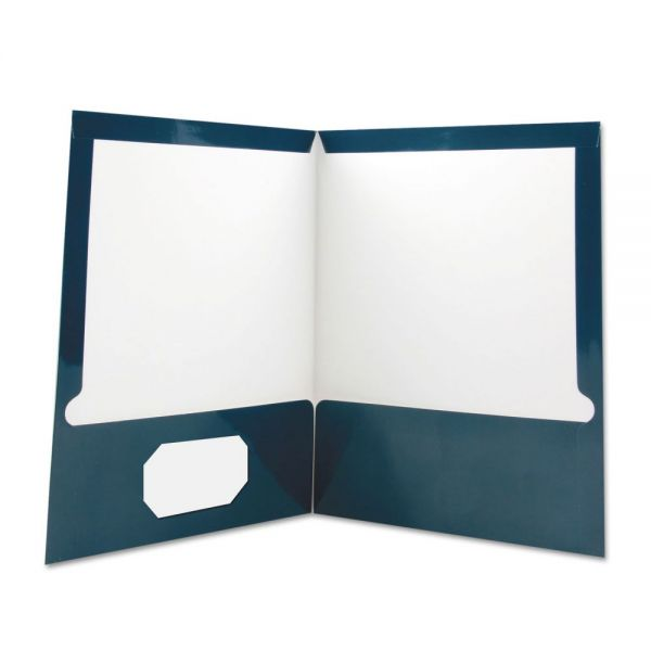 Universal Laminated Two-Pocket Folder, Cardboard Paper, Navy, 11 x 8 1/2, 25/Box