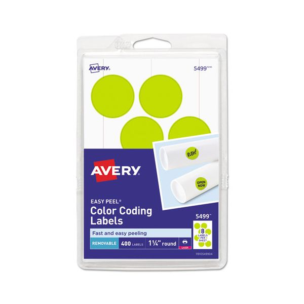 "Avery Printable Removable Color-Coding Labels, 1 1/4"" dia, Neon Yellow, 400/Pack"