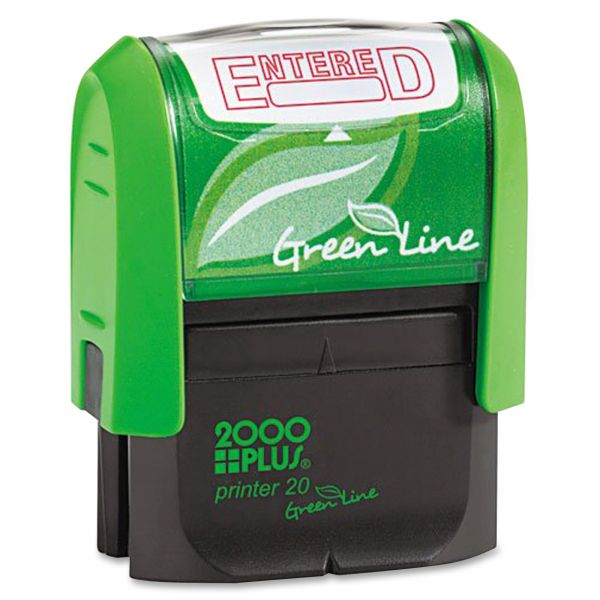 COSCO 2000PLUS Green Line Message Stamp, Entered, 1 1/2 x 9/16, Red