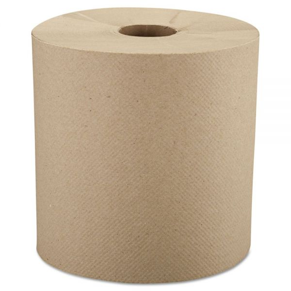 """Windsoft Nonperforated Roll Paper Towels, 8"""" x 800 ft, 1-Ply, Brown, 6 Rolls/Carton"""