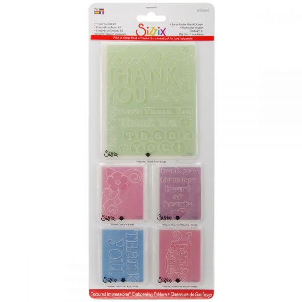 Sizzix Textured Impressions A2 Embossing Folders 5/Pkg