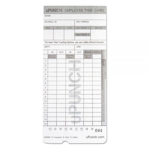 uPunch Time Card for uPunch, HN2000, HN4000, HN4600 Bundle, 100/Pk