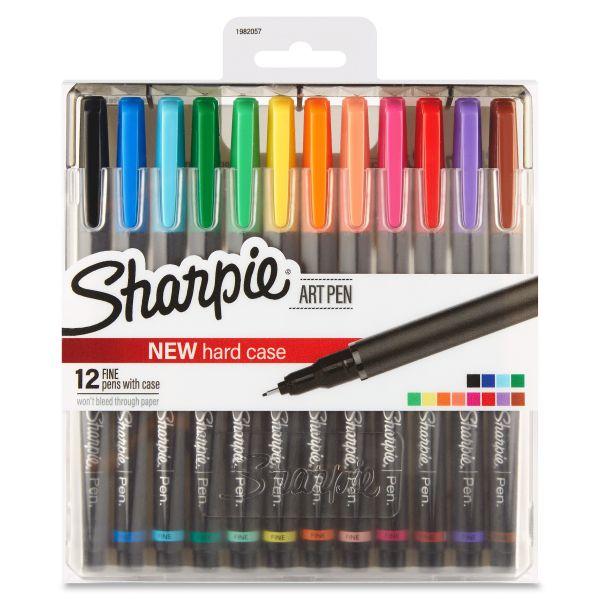 Sharpie Art Pen with Hard Case, Fine Pt.,12/Set