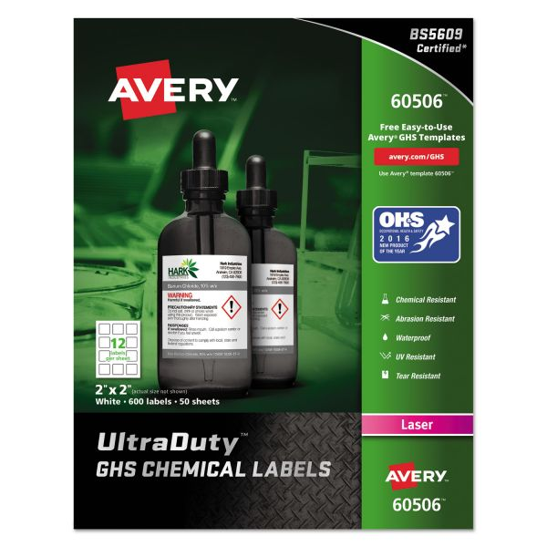 Avery GHS Chemical Waterproof & UV Resistent Labels, Laser, 2 x 2, 600/Box
