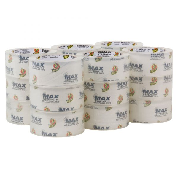 "Duck MAX Packaging Tape, 1.88"" x 54.6 yds, 3"" Core, Crystal Clear, 18/Pack"