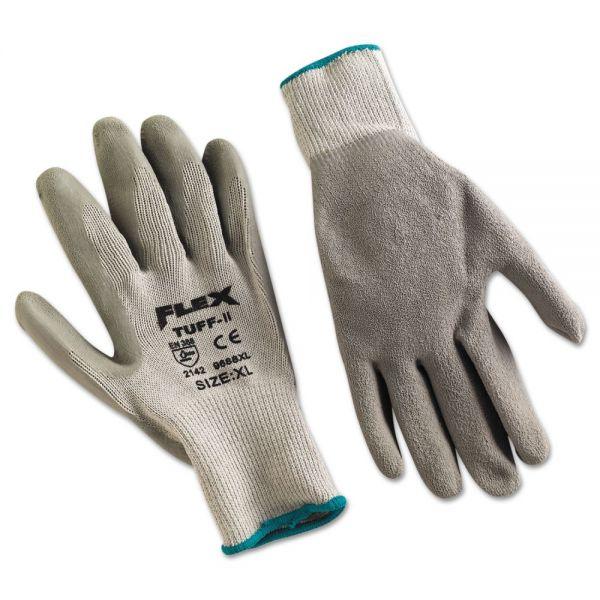Memphis FlexTuff Latex Dipped Gloves, White/Blue, X-Large, 12 Pairs