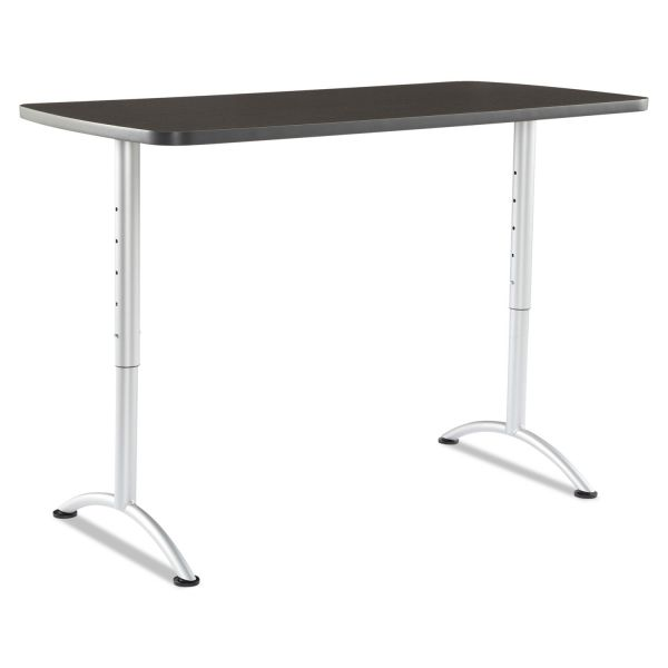 Iceberg ARC Sit-to-Stand Tables, Rectangular Top, 30w x 60d x 30-42h, Gray Walnut/Silver