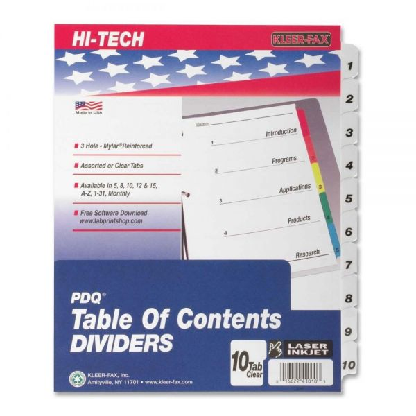 Kleer-Fax Table Of Contents Numbered Tab Index Dividers