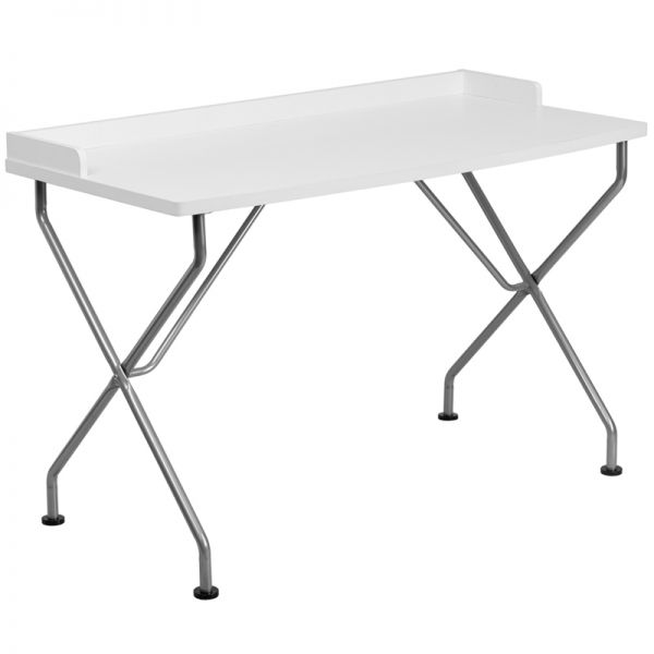 Flash Furniture White Computer Desk with Silver Frame