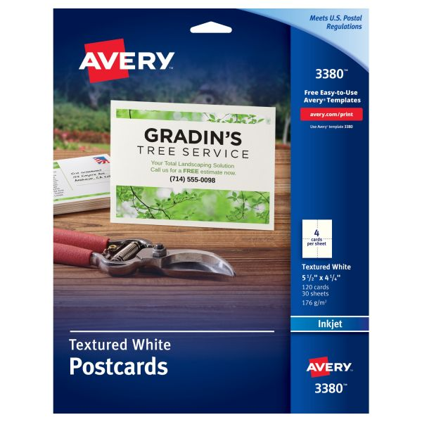 Avery Textured Postcards, Inkjet, Heavyweight, 4 1/4 x 5 1/2, Matte White, 120/Box