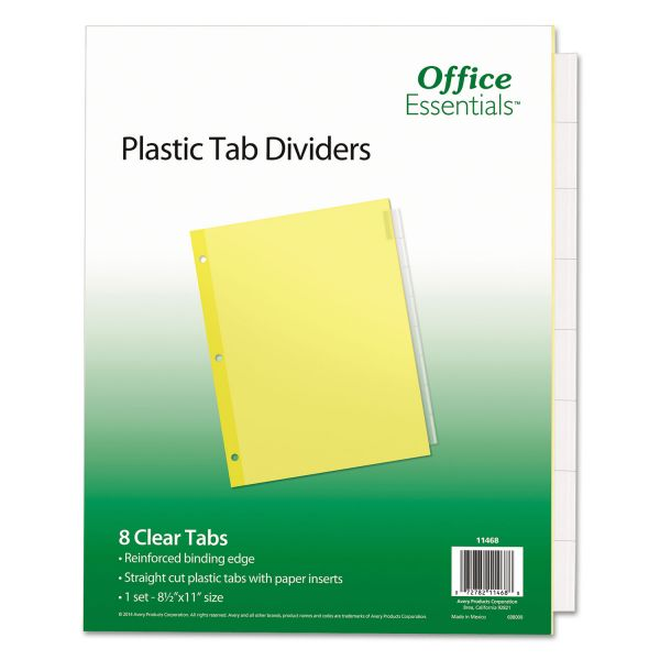 Office Essentials Plastic Insertable Dividers, 8-Tab, Clear Tab, Letter, 1 Set