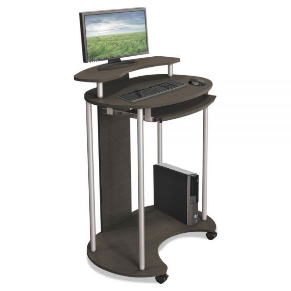 BALT Up-Rite Mobile Standing Workstation, 27 1/2 x 22 1/2 x 45 1/2, Smoked Sapelle