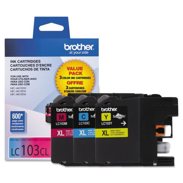 Brother LC-103 Color Combo High-Yield Ink Cartridges (LC1033PKS)