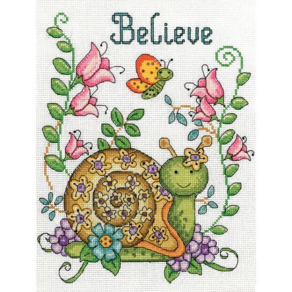 Believe (Snail) Counted Cross Stitch Kit