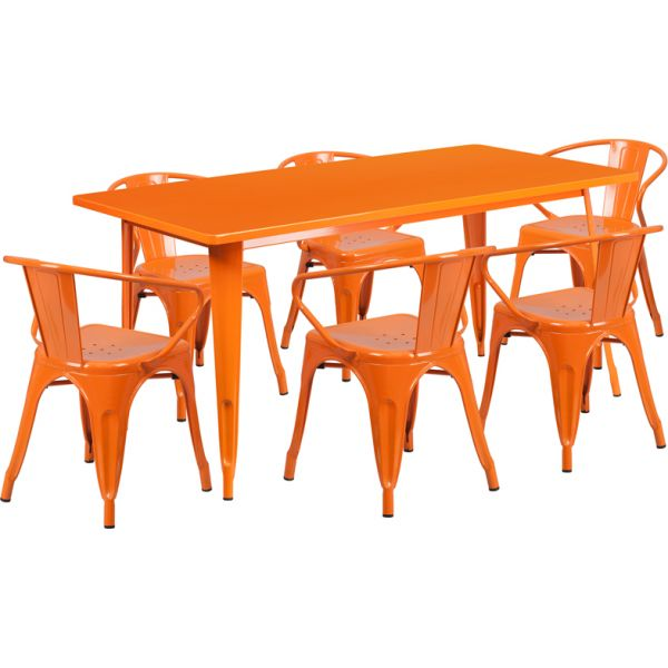 Flash Furniture 31.5'' x 63'' Rectangular Orange Metal Indoor-Outdoor Table Set with 6 Arm Chairs
