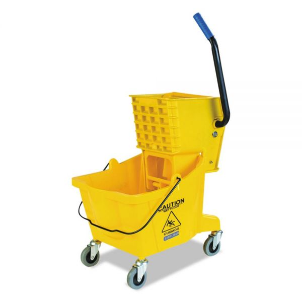 Flo-Pac Side-Press Bucket/Wringer Combo, Yellow, 26qt, 18 1/2dia x 16 1/2w x 16 1/2h