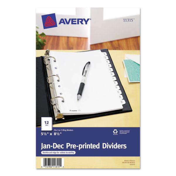 "Avery 5 1/2"" x 8 1/2"" Preprinted Monthly Tab Index Dividers"