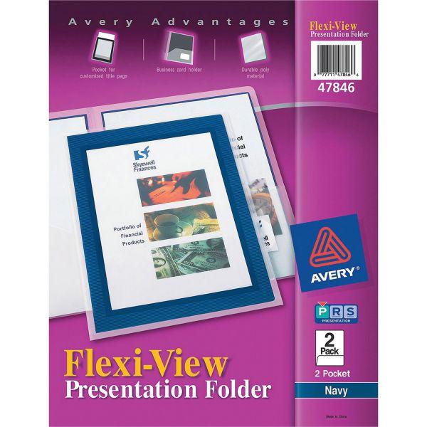 Avery Flexi-View Two-Pocket Polypropylene Folder, Translucent/Navy, 2/Pack