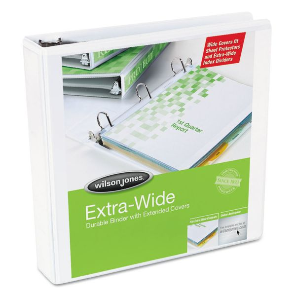 "Wilson Jones Oversized D-Ring View Binder, 3"" Cap, White"