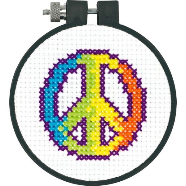 Learn-A-Craft Rainbow Peace Counted Cross Stitch Kit