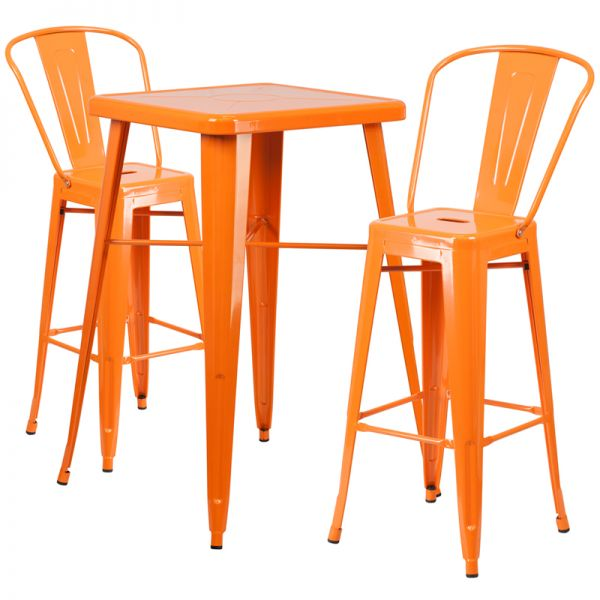 Flash Furniture 23.75'' Square Orange Metal Indoor-Outdoor Bar Table Set with 2 Barstools with Backs