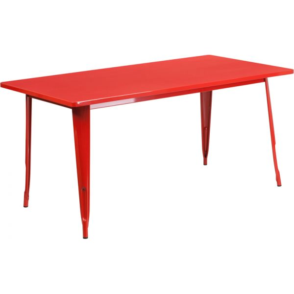 Flash Furniture 31.5'' x 63'' Rectangular Red Metal Indoor-Outdoor Table