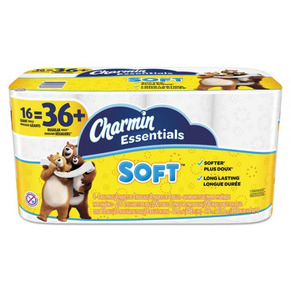 Charmin Essentials Soft Toilet Paper, 2-Ply, White, 4 x 3.92 Sheet, 200 Sheets/Roll, 16 Rolls/Pack