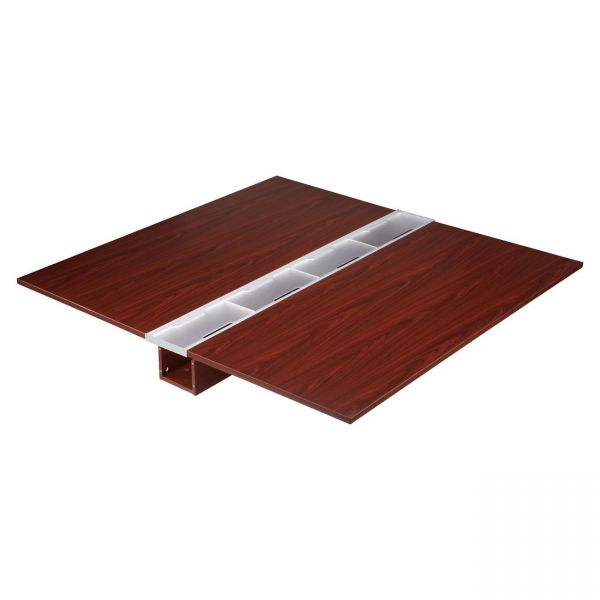 Lorell Concordia Series Mahogany Laminate Desk Ensemble