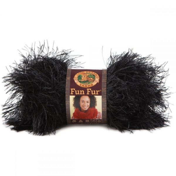 Lion Brand Fun Fur Yarn - Black