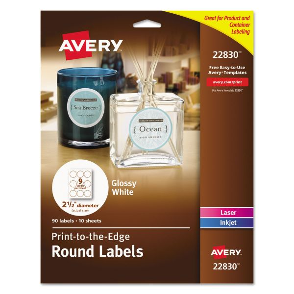 "Avery Round True Print Labels, 2 1/2"" dia, White, 90/Pack"