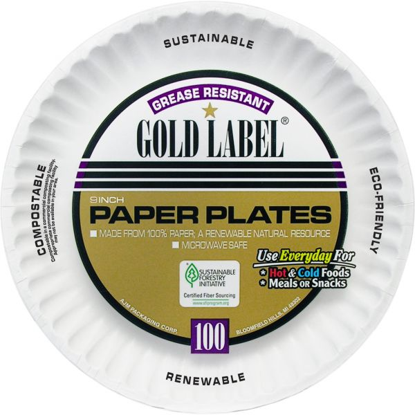 """Gold Label 9"""" Coated Paper Plates"""