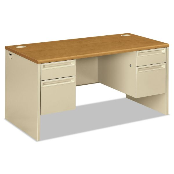 HON 38000 Series Double Pedestal Desk, 60w x 30d x 29-1/2h, Harvest/Putty