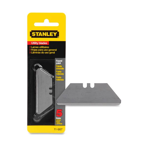 Stanley Tools Rounded-Point Utility-Knife Blades, 5/Pack