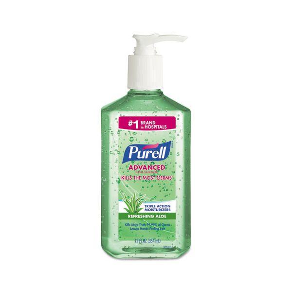 PURELL Advanced Instant Hand Sanitizer w/Aloe, 12oz Pump Bottle, 12/Carton