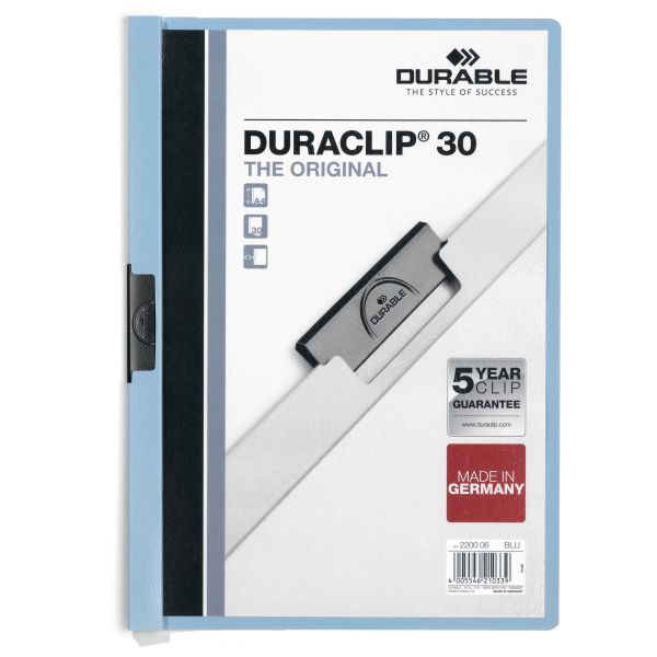 Durable Vinyl DuraClip Report Cover w/Clip, Letter, Hold 30 Pages, Clear/Lt Blue