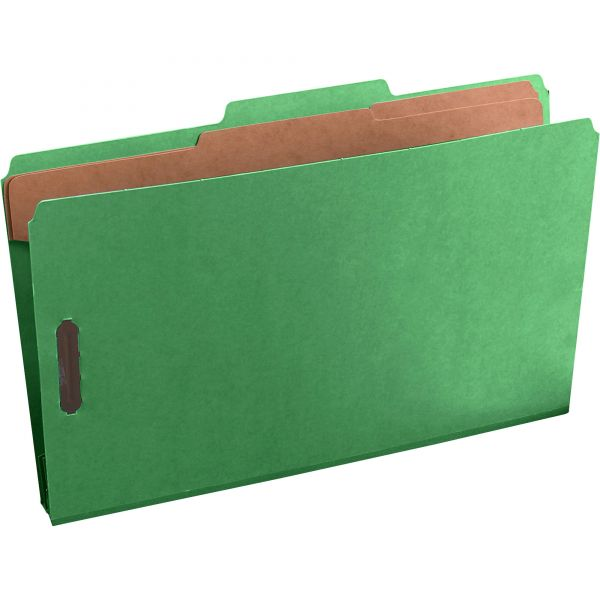 Pendaflex Six-Section Colored Classification Folders, Legal, 2/5 Tab, Green, 10/Box