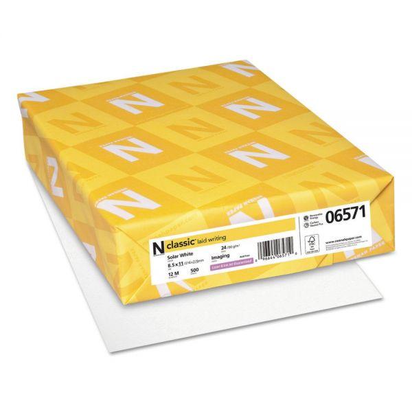 Neenah Paper CLASSIC Laid Writing Paper, 24lb, 97 Bright, 8 1/2 x 11, Solar White, 500 Sheets