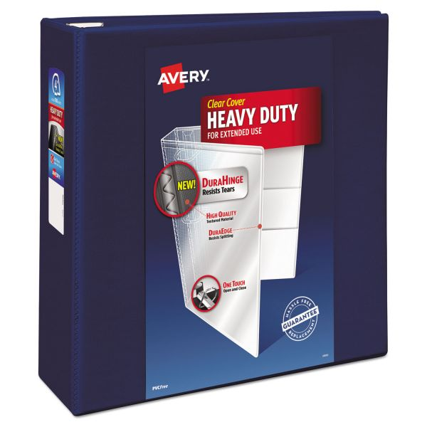 "Avery Heavy-Duty 3-Ring View Binder w/Locking 1-Touch EZD Rings, 4"" Capacity, Navy Blue"