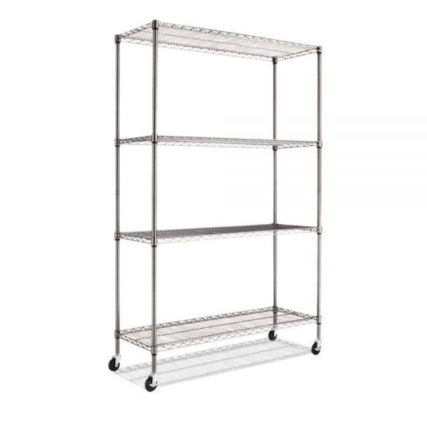 Alera Complete Wire Shelving Unit w/Caster, Four-Shelf, 48 x 18 x 72, Black Anthracite