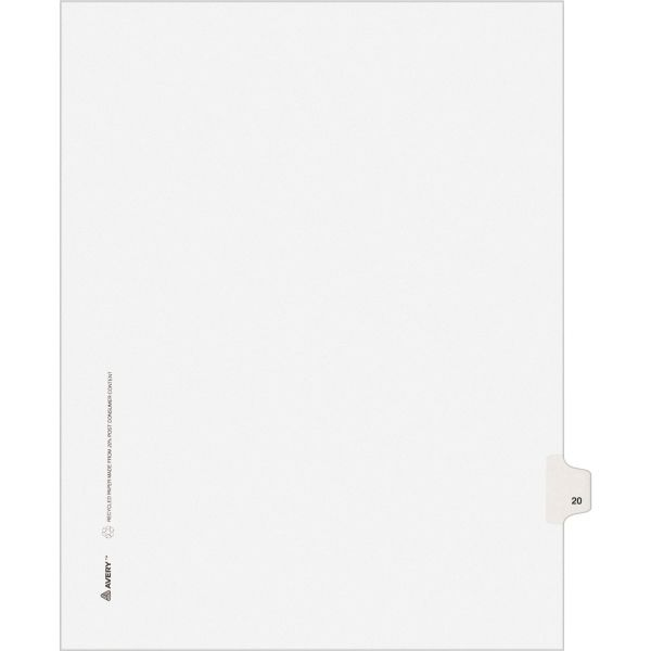 Avery Allstate-Style Legal Exhibit Side Tab Divider, Title: 20, Letter, White, 25/Pack