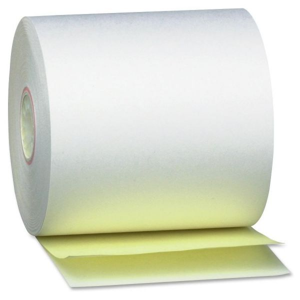 """PM Company Paper Rolls, Teller Window/Financial, 3"""" x 90 ft, 2 Ply White/Canary, 50/Carton"""