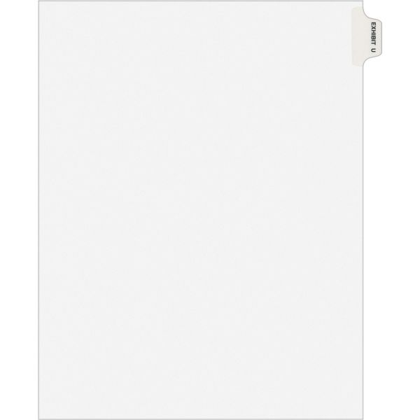 Avery-Style Preprinted Legal Side Tab Divider, Exhibit U, Letter, White, 25/Pack