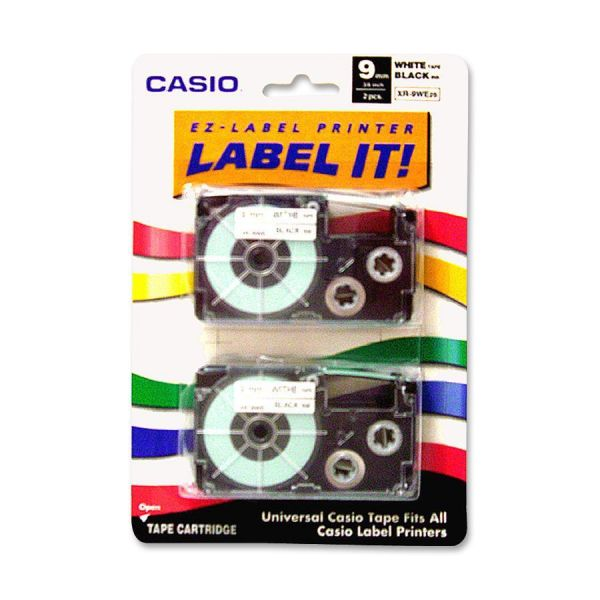 Casio Tape Cassettes for KL Label Makers, 9mm x 26ft, Black on White, 2/Pack