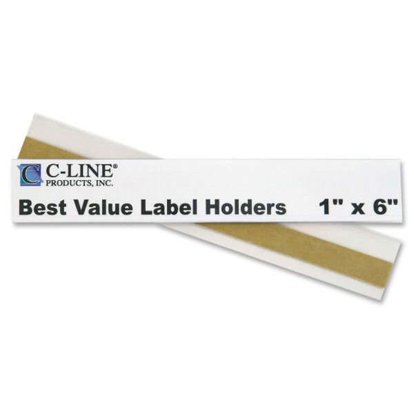 C-Line Peel and Stick Repositionable Top-Load Label Holders, 1 x 6, Clear, 50 per Pack