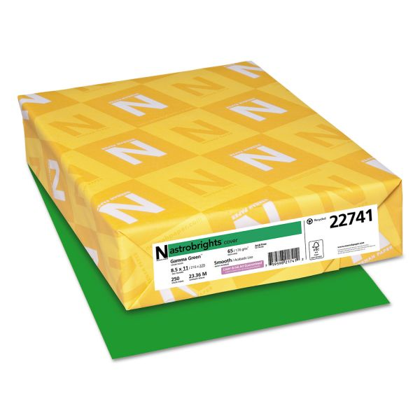 Astrobrights Color Cardstock, Smooth, 65lb, 8 1/2 x 11, Gamma Green, 250 Sheets