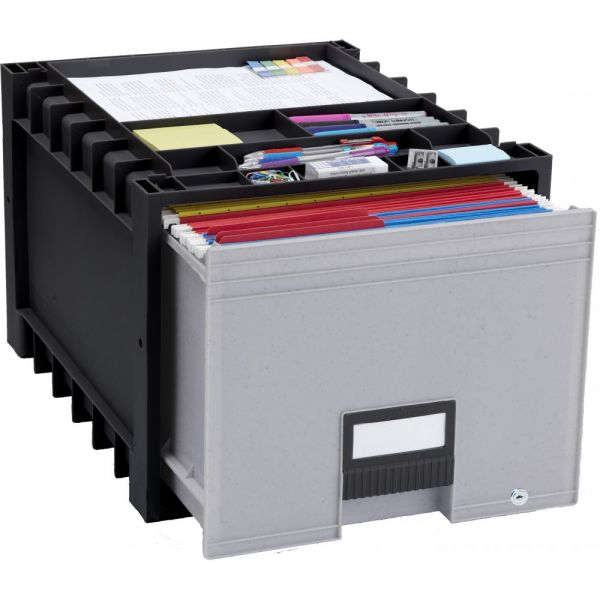 Storex Plastic Archive Storage Box with Lock